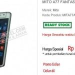 Harga Spesifikasi Mito A77 Fantasy Selfie, Harga 1 Jutaan