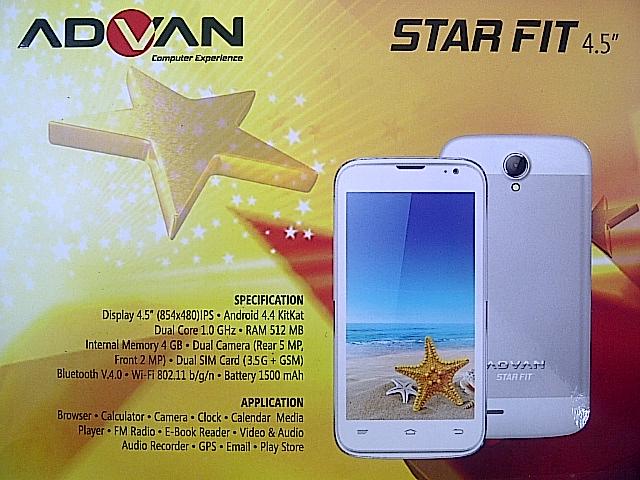 Spesifikasi Advan Star Fit S45A Android KitKat Harga 899 Ribu