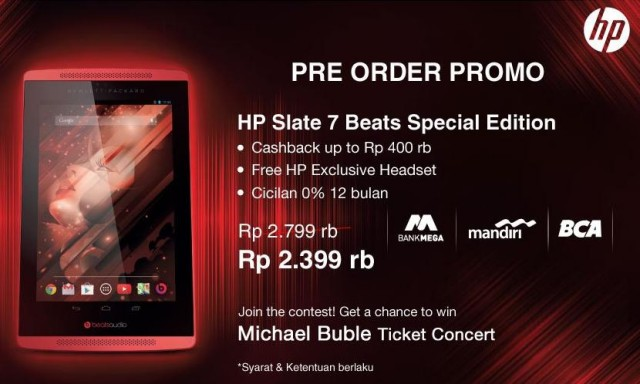 HP Slate 7 Beats Special Edition, Spesifikasi Tablet 7 Inci Harga 2,4 Jutaan