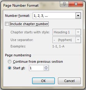page number standar